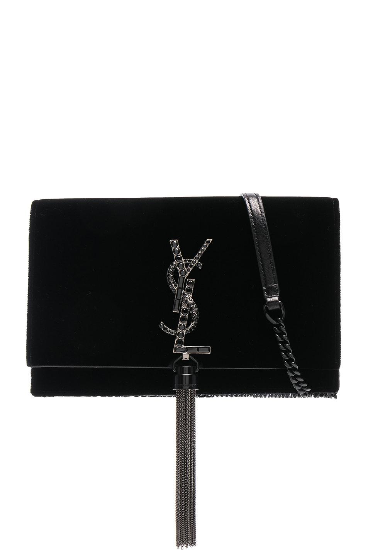 Image 1 of Saint Laurent Crystal Logo Velvet Kate Tassel Chain Wallet in Black