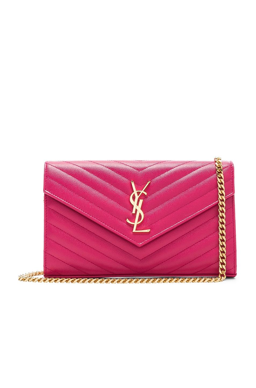 Image 1 of Saint Laurent Monogramme Chain Wallet in Shocking Pink