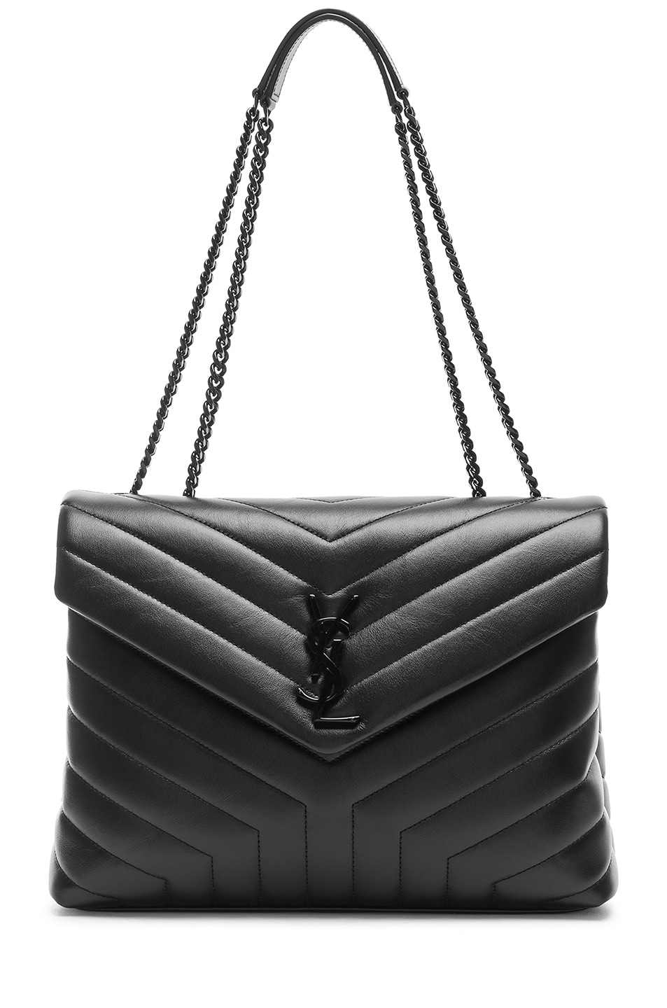 Image 6 of Saint Laurent Medium Supple Monogramme Loulou Chain Bag in Black & Black