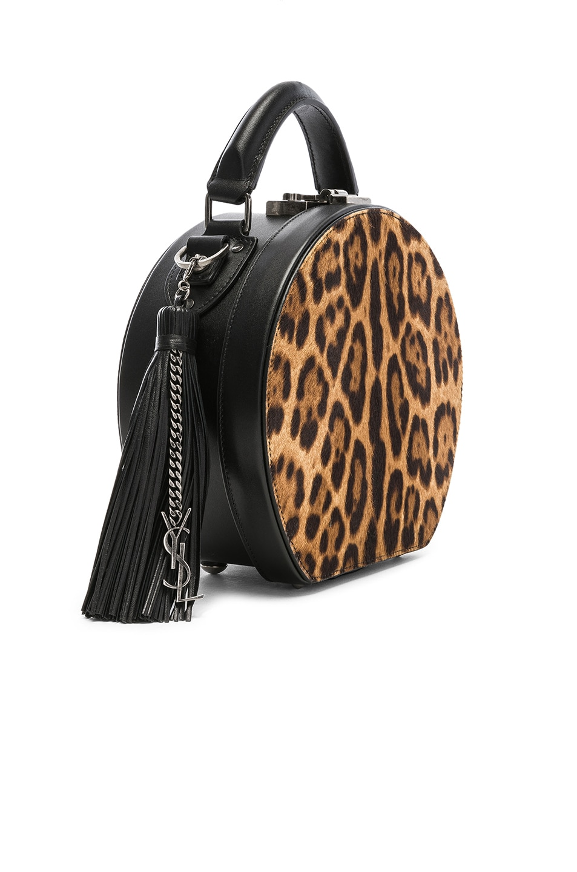 Image 4 of Saint Laurent Mica Hat Bag in Natural & Black