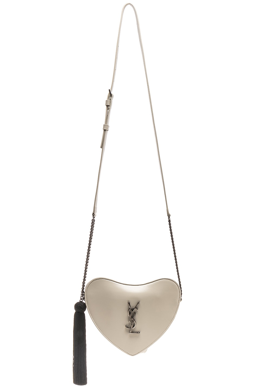 Image 6 of Saint Laurent Heart Shoulder Bag in Blanc Vintage & Black