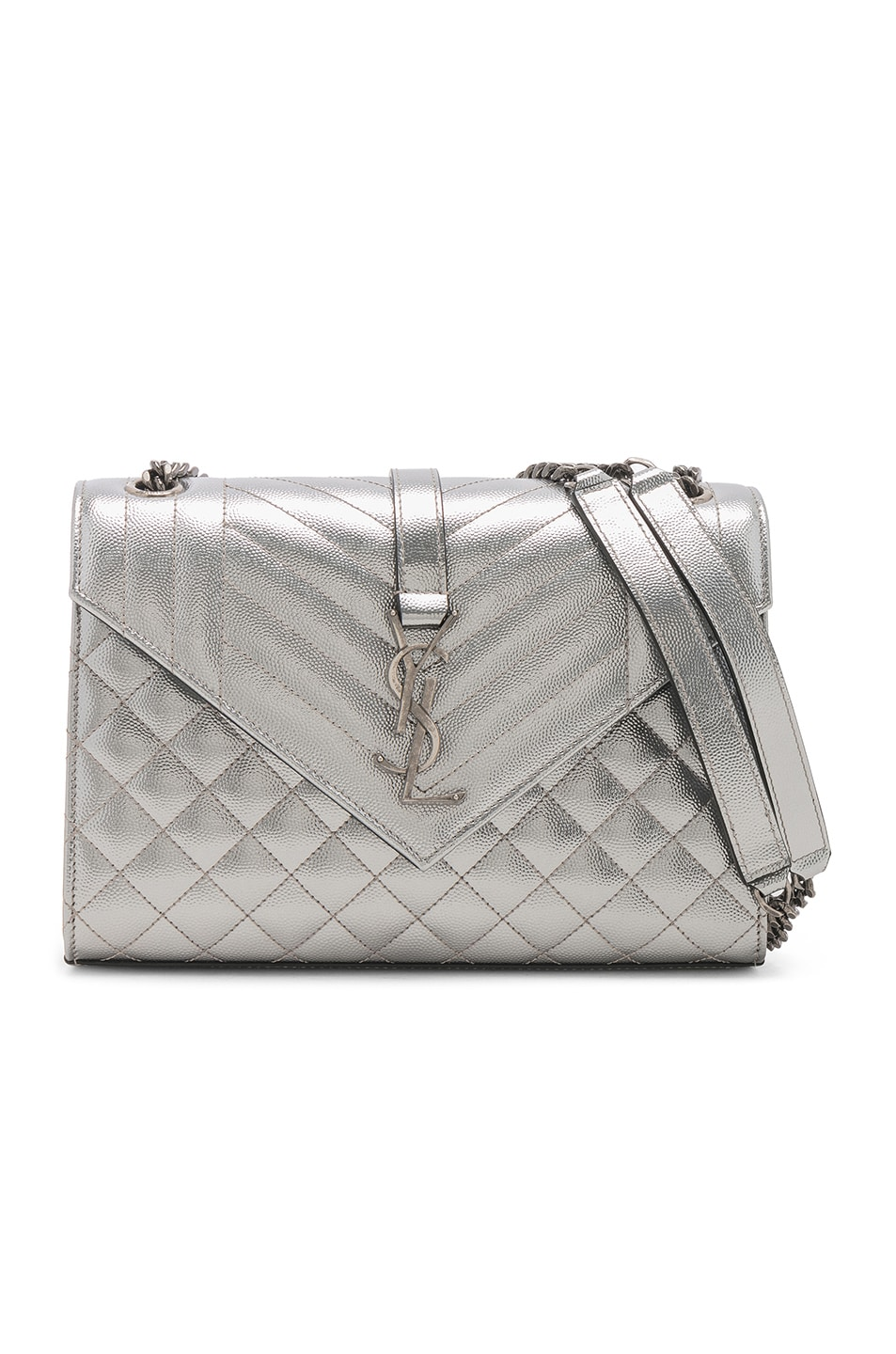 Image 1 of Saint Laurent Medium Envelope Monogramme Bag in Silver