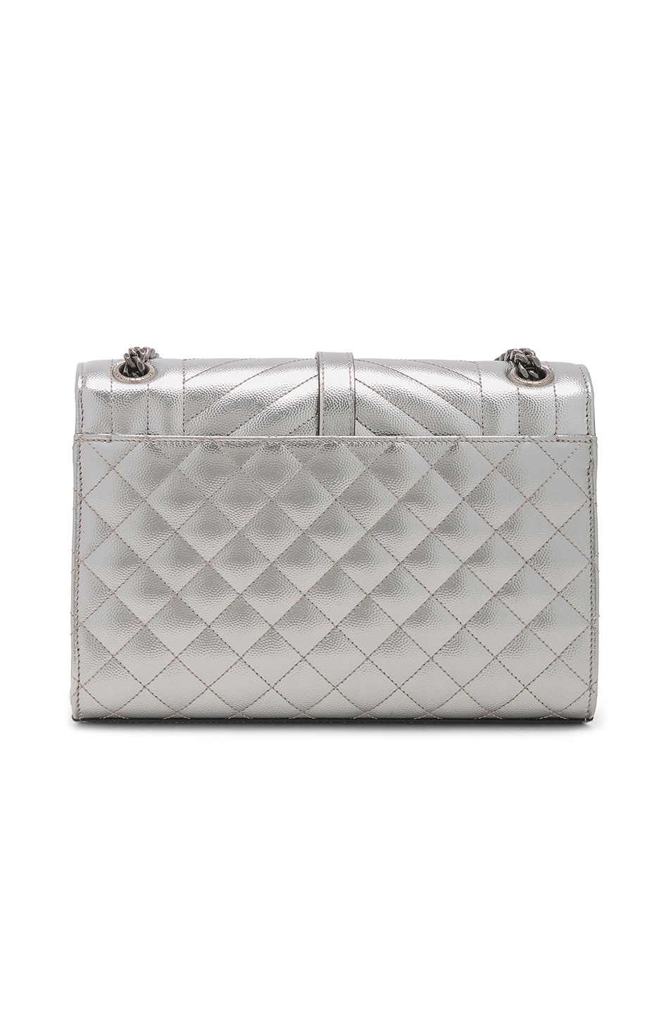 Image 3 of Saint Laurent Medium Envelope Monogramme Bag in Silver