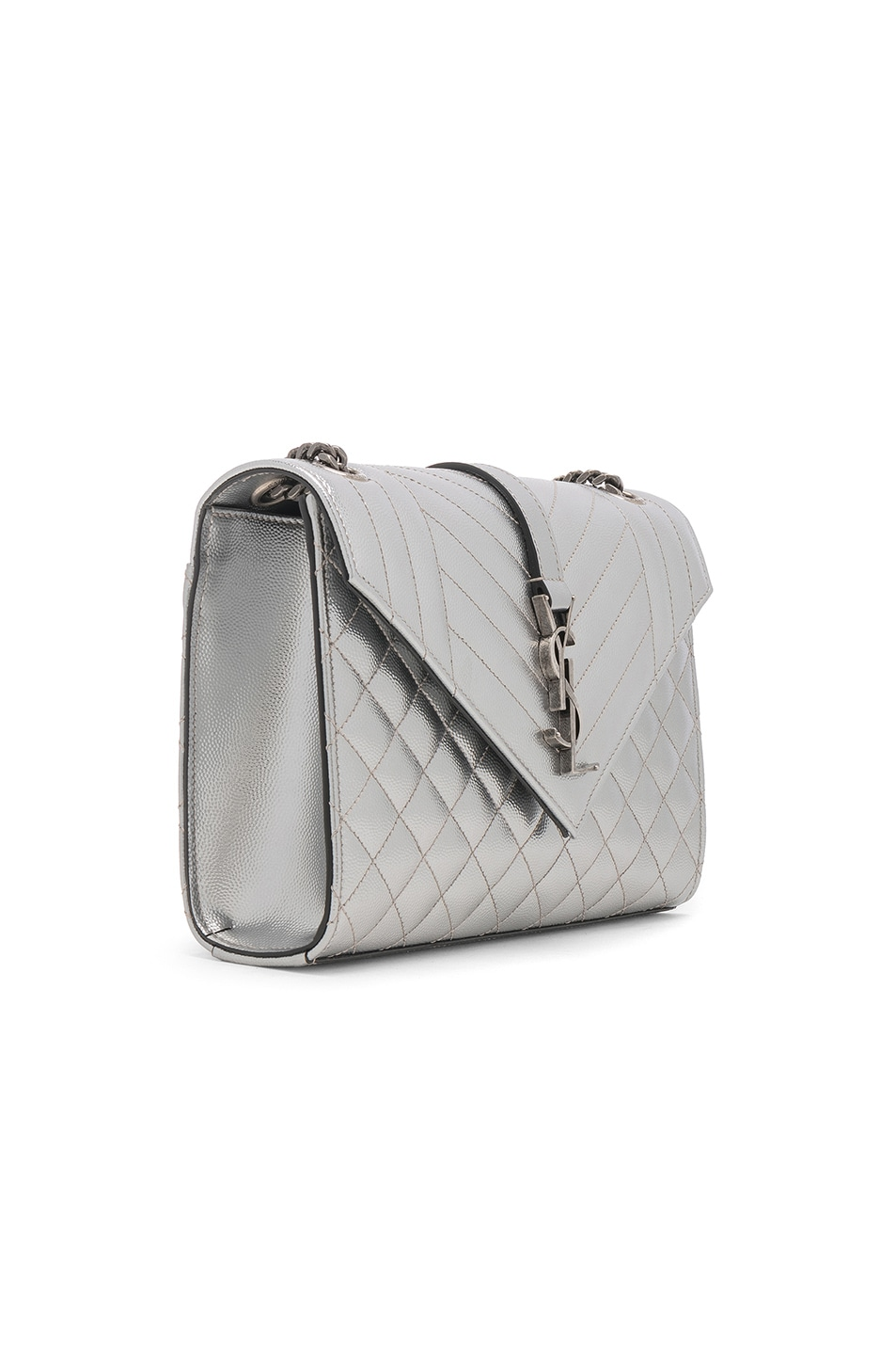 Image 4 of Saint Laurent Medium Envelope Monogramme Bag in Silver