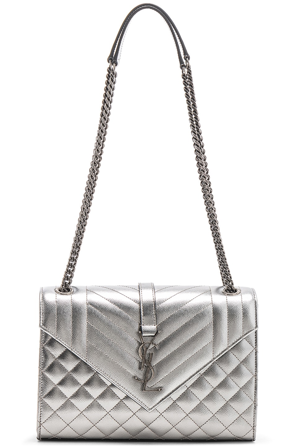 Image 6 of Saint Laurent Medium Envelope Monogramme Bag in Silver
