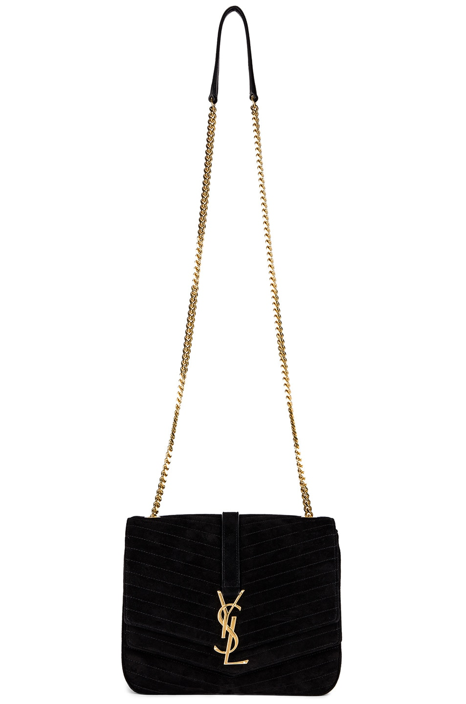 Image 3 of Saint Laurent Medium Sulpice Chain Suede Quilted Bag in Black