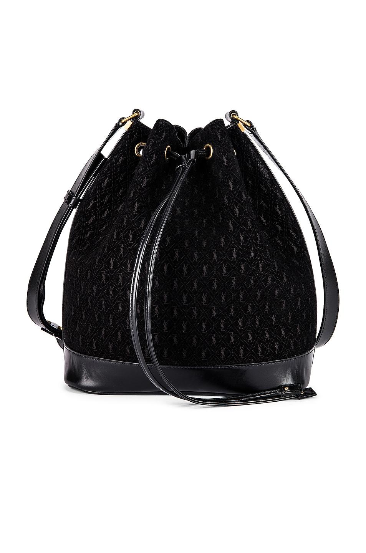 Image 1 of Saint Laurent Suede Monogramme Bucket Bag in Black
