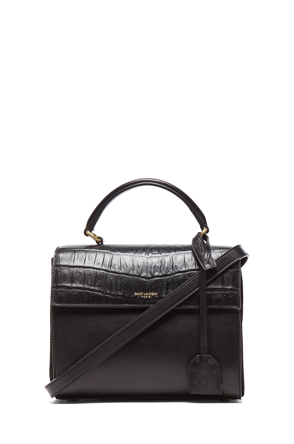 Image 1 of Saint Laurent Small Moujik Bag Croc Effect in Black