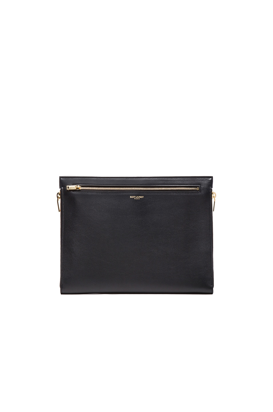 Image 1 of Saint Laurent Three Zipper Envelope Clutch in Black