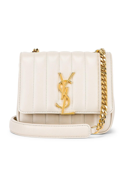 Image 1 of Saint Laurent Monogramme Vicky Shoulder Bag in Crema Soft