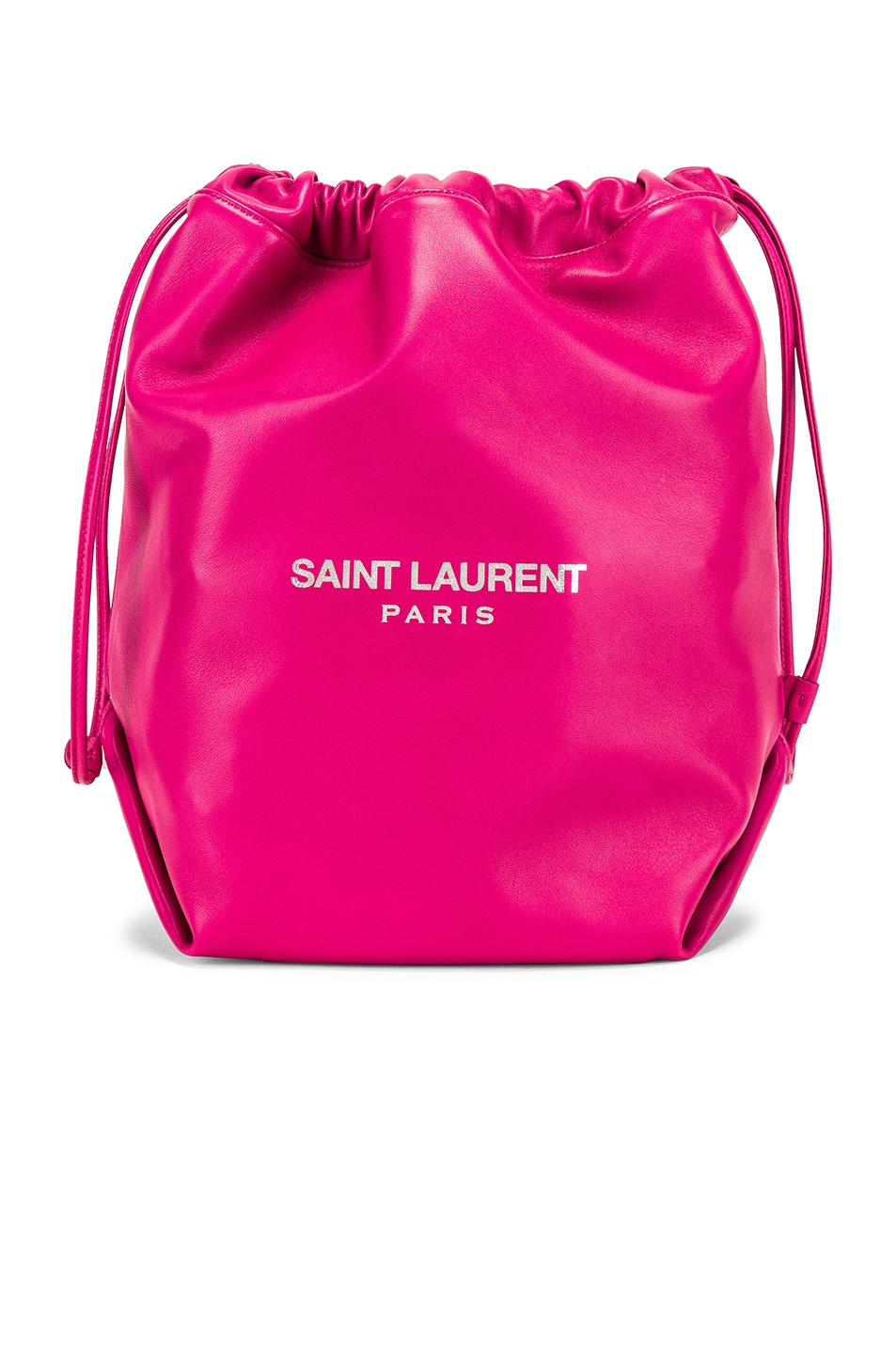 Image 1 of Saint Laurent Supple Logo Teddy Pouch in Rose Freesia