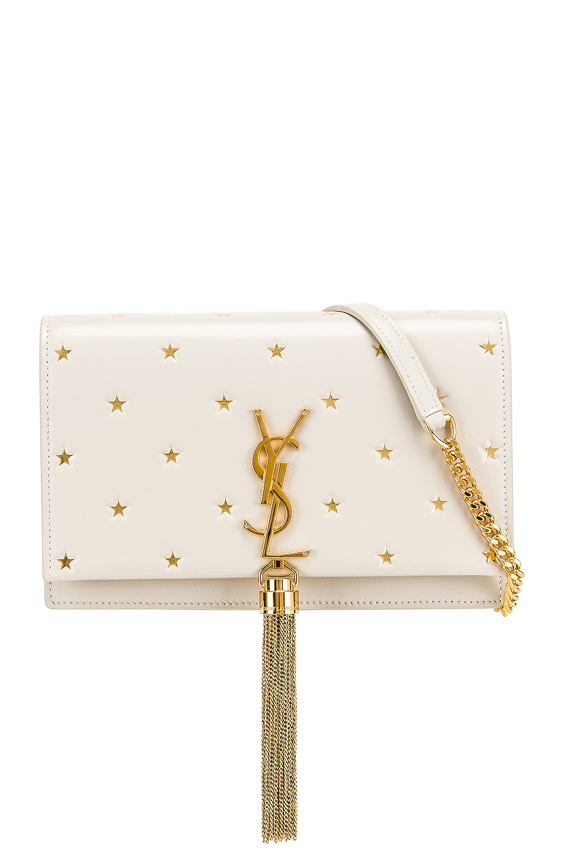 Image 1 of Saint Laurent Kate Monogramme Star Chain Wallet Bag in Blanc Vintage & Gold