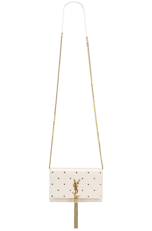 Image 6 of Saint Laurent Kate Monogramme Star Chain Wallet Bag in Blanc Vintage & Gold
