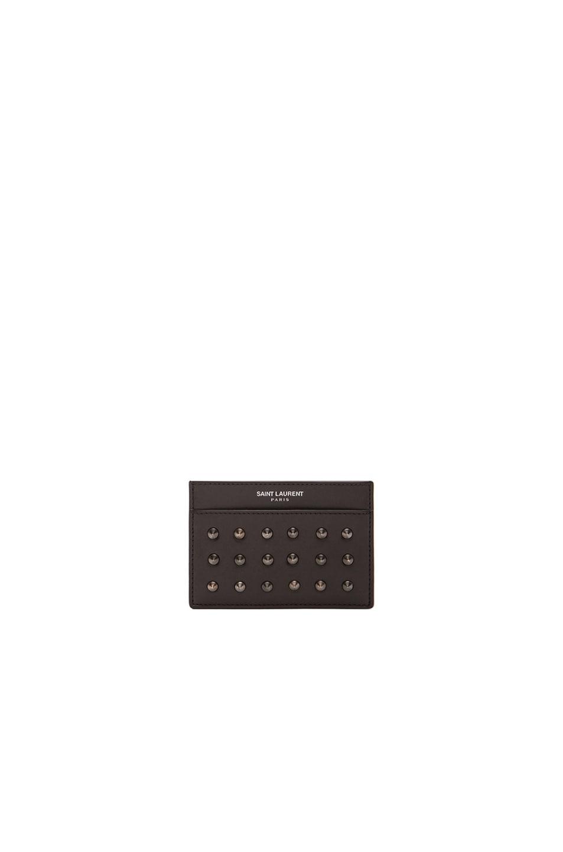 Image 1 of Saint Laurent Paris Studded Credit Card Case in Black