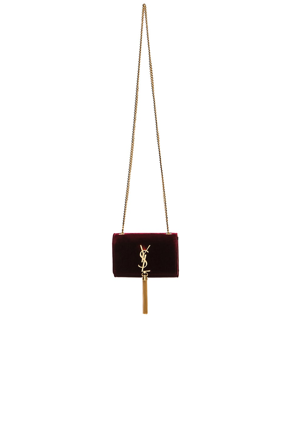 Image 1 of Saint Laurent Small Monogramme Velvet Chain Bag with Tassel in Bordeaux