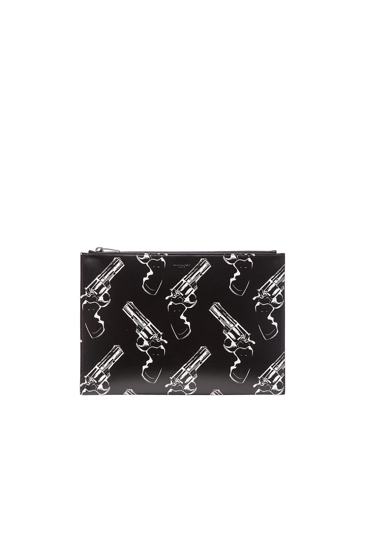 Image 1 of Saint Laurent Paris Gun Print Zipped Clutch in Black & White