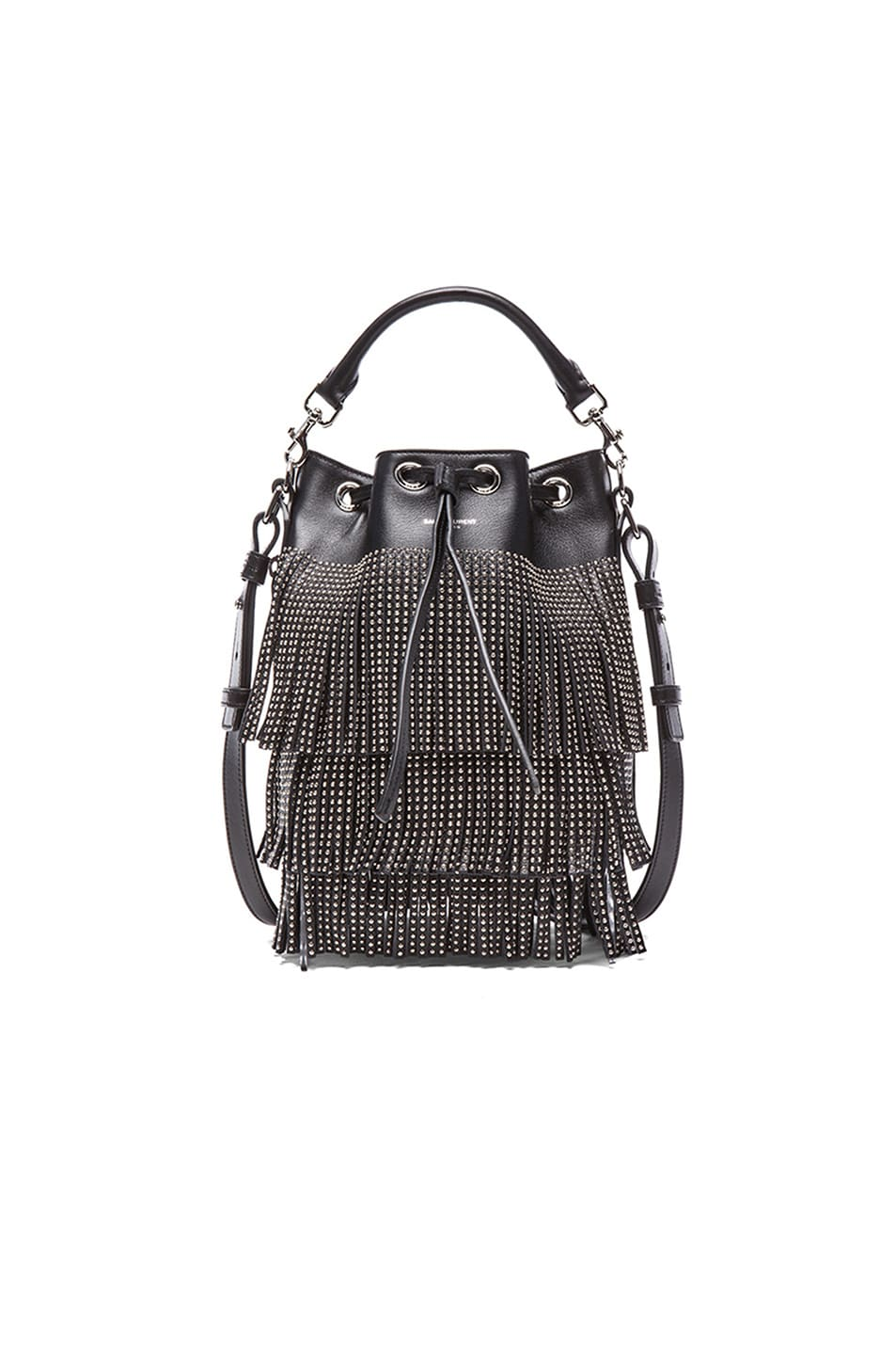 Image 1 of Saint Laurent Small Seau Studded Bucket Bag with Fringe in Black 33d084c697