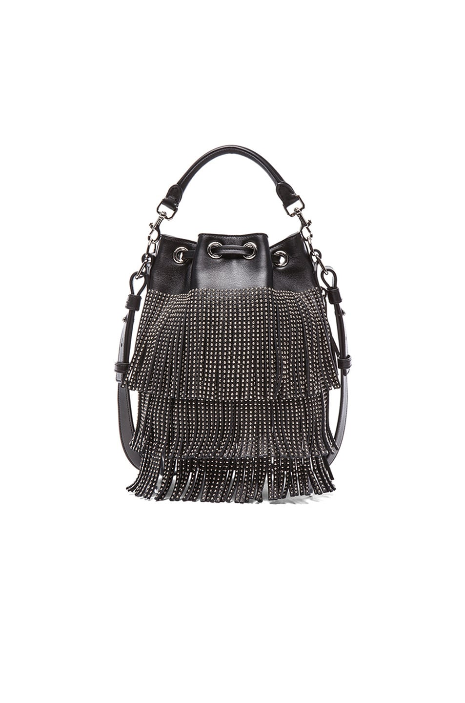 Image 3 of Saint Laurent Small Seau Studded Bucket Bag with Fringe in Black 72004f7733