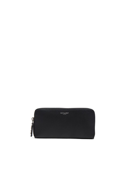 Image 1 of Saint Laurent Paris Zip Around Wallet in Black