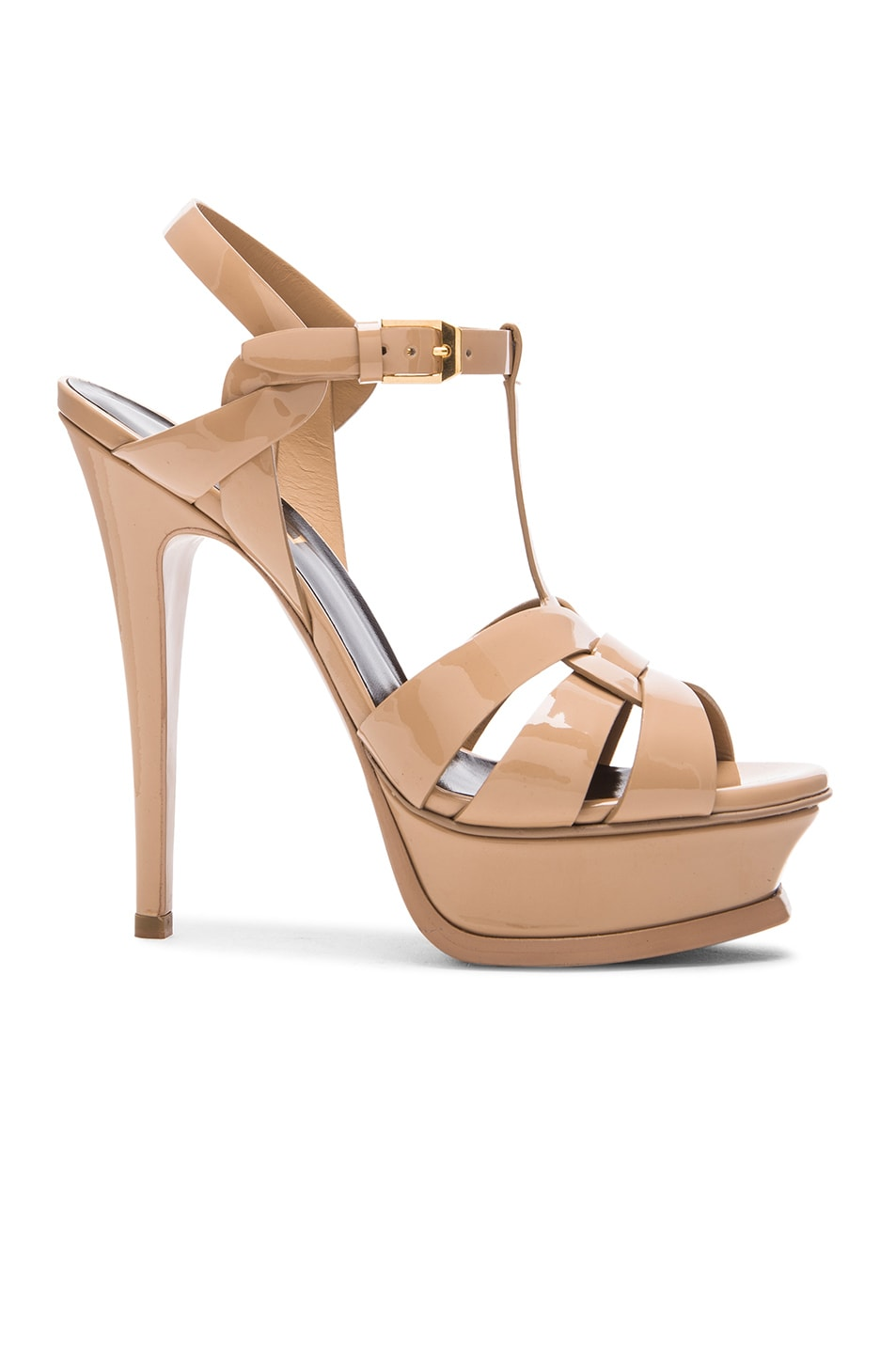 Image 1 of Saint Laurent Tribute Patent Leather Platform Sandals in Darker Nude