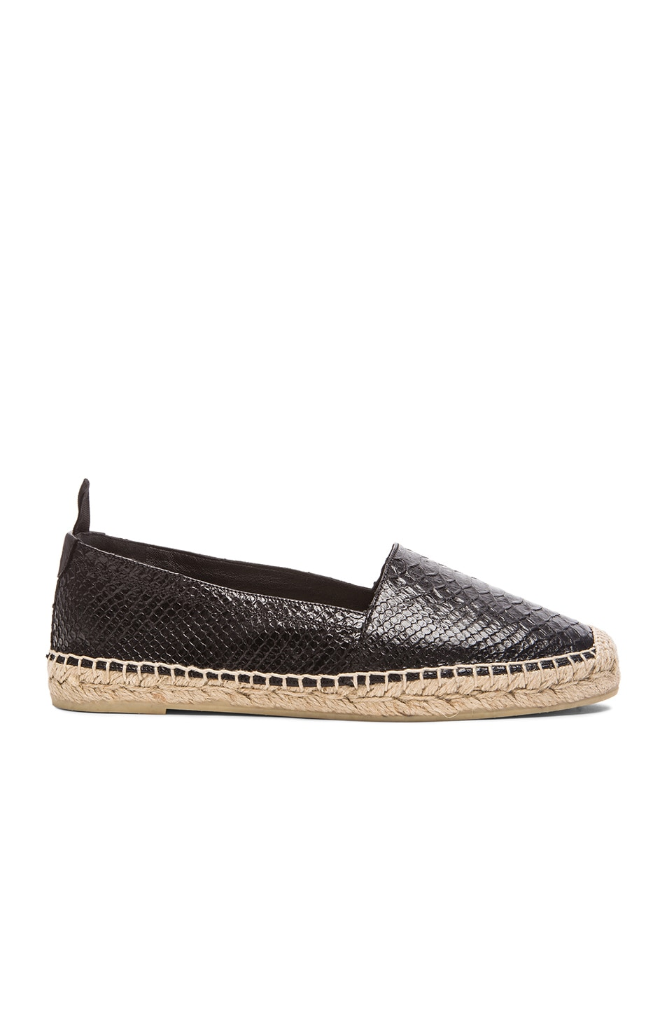 7a317b4b8 Image 1 of Saint Laurent Python Embossed Leather Espadrilles in Black
