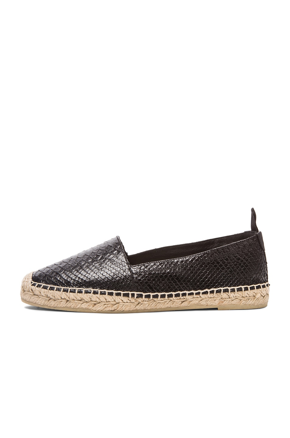 e094ea4ee Image 5 of Saint Laurent Python Embossed Leather Espadrilles in Black