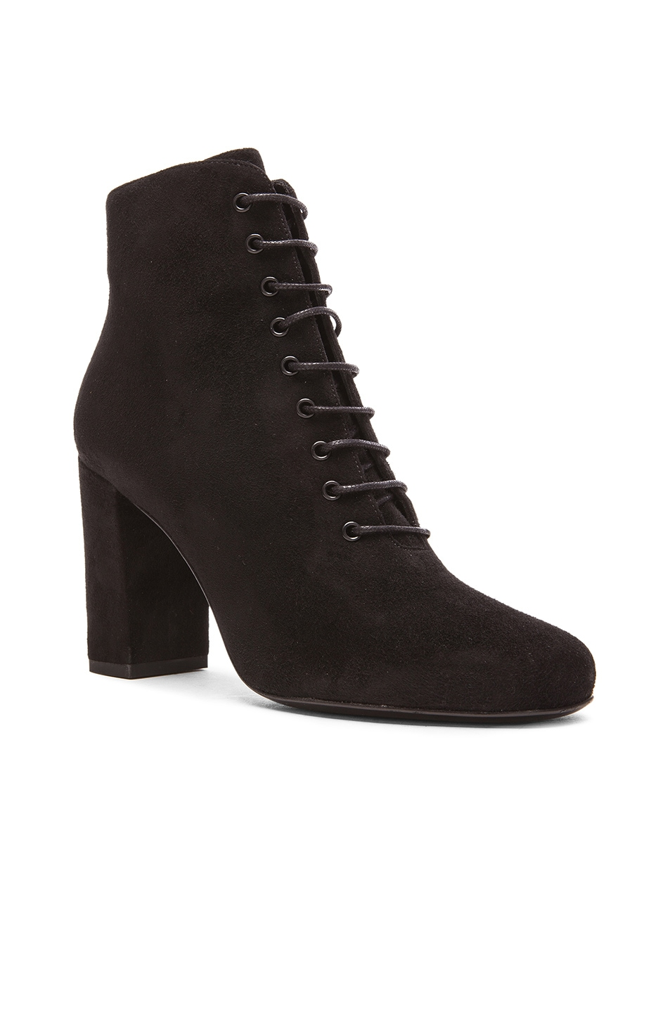 Image 2 of Saint Laurent Suede Lace Up Babies Boots in Black