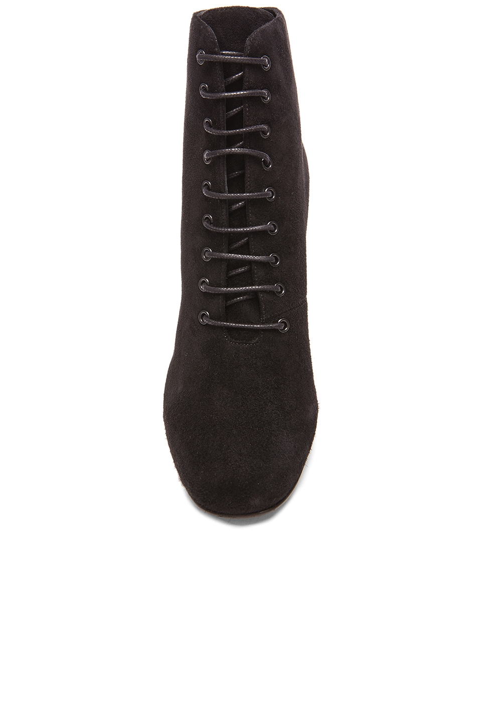 Image 4 of Saint Laurent Suede Lace Up Babies Boots in Black