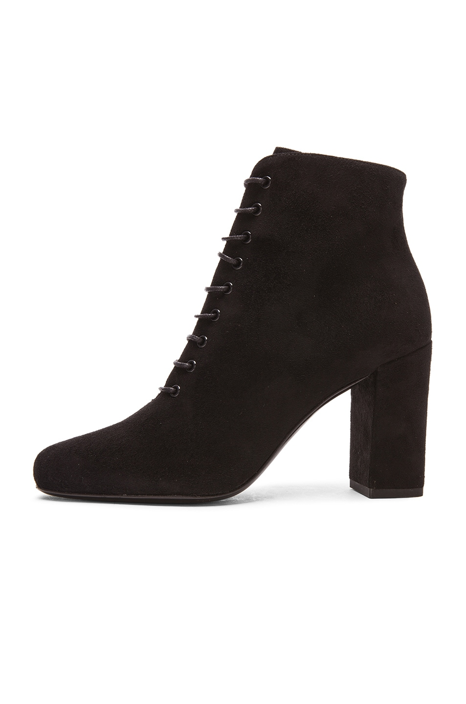 Image 5 of Saint Laurent Suede Lace Up Babies Boots in Black