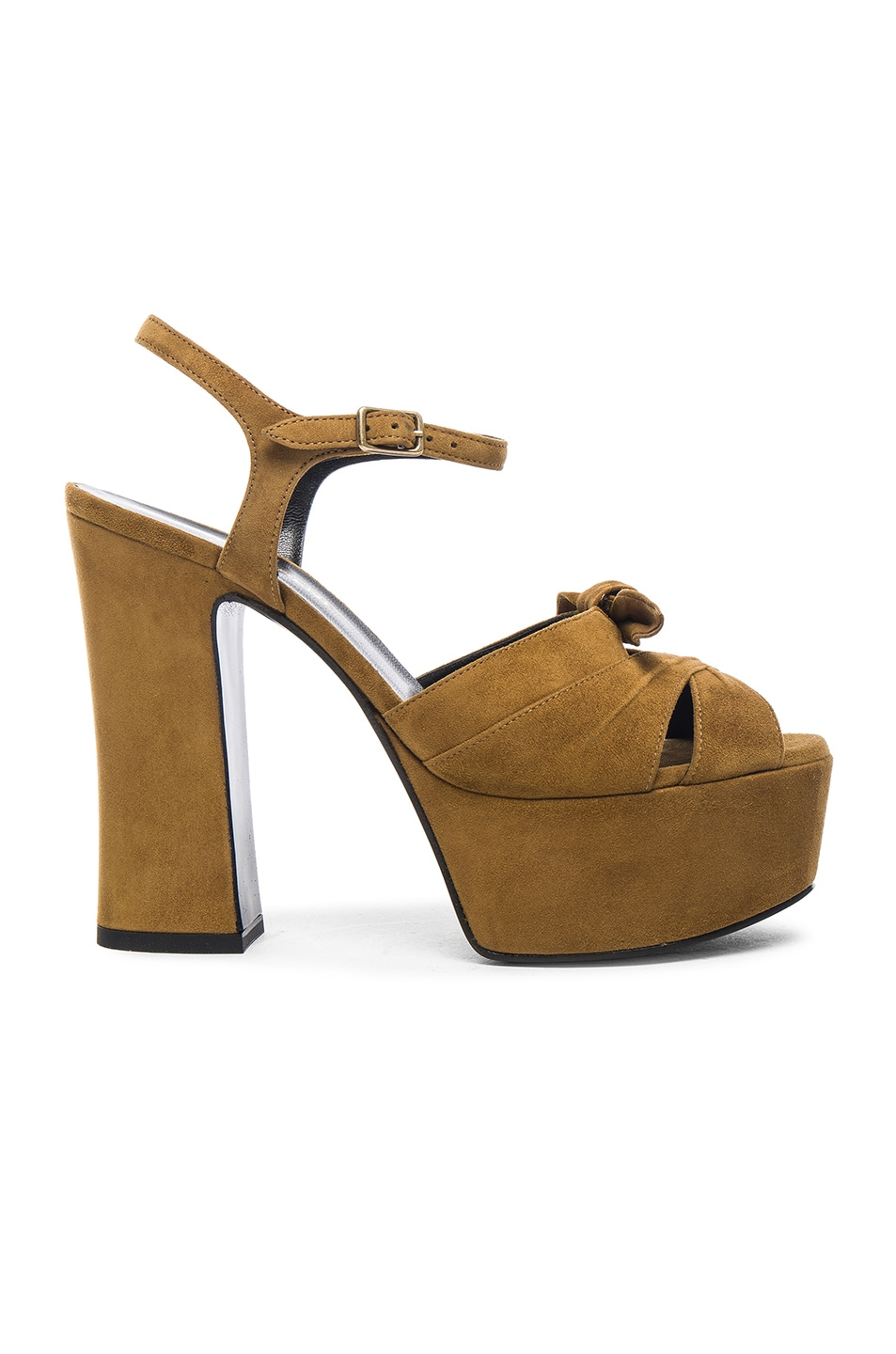 eb9f84157ef Image 1 of Saint Laurent Suede Candy Heels in Tan
