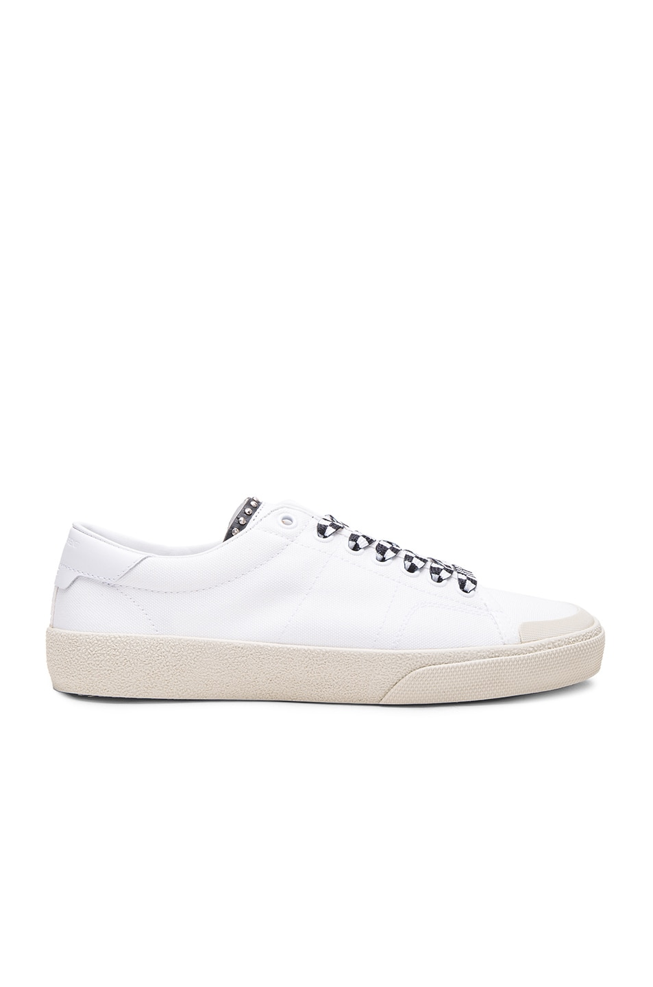 Image 1 of Saint Laurent Checkered Lace Leather Surf Sneakers in Off White