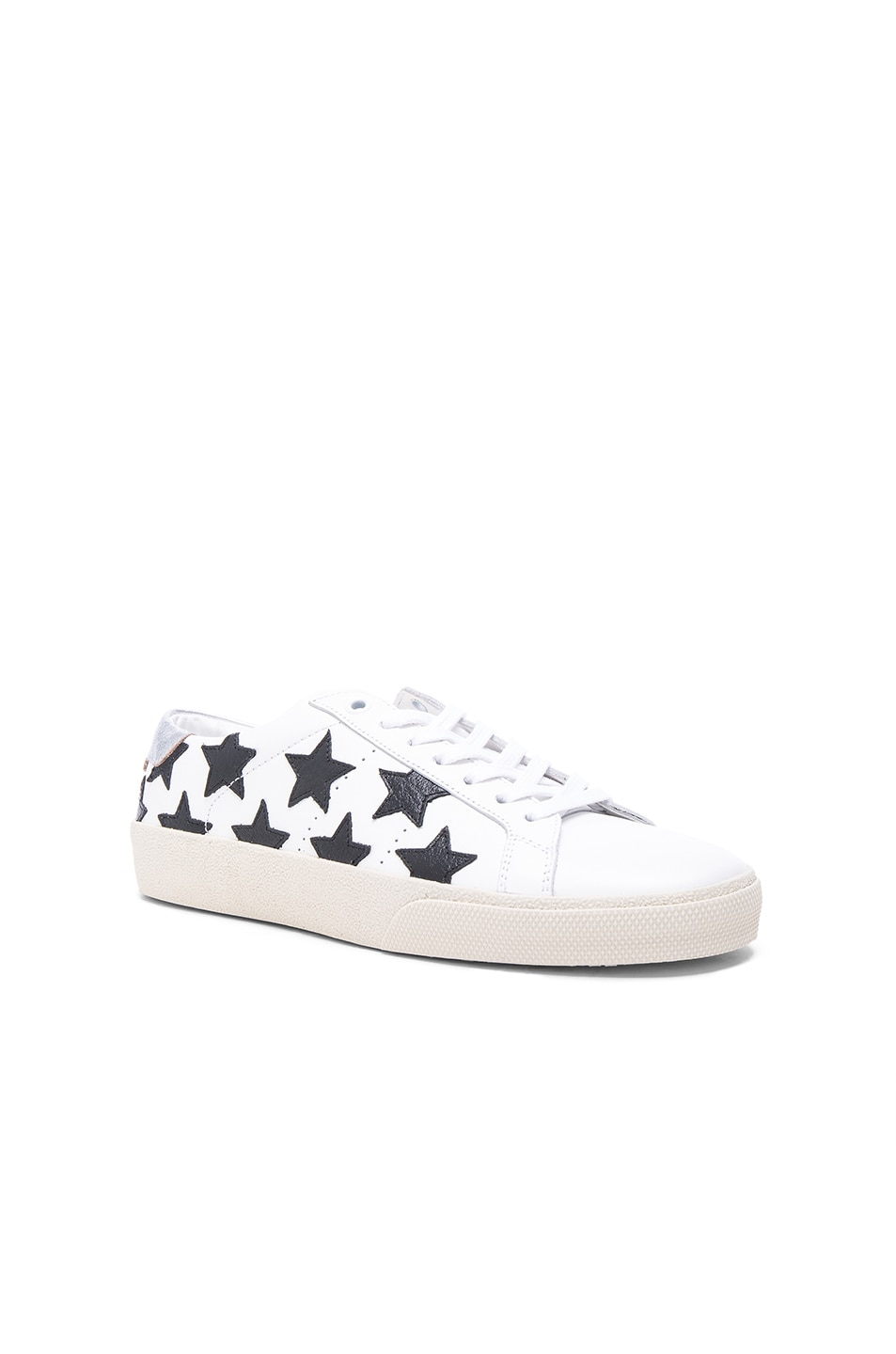 Image 2 of Saint Laurent Court Classic Star Leather Sneakers in Black & White