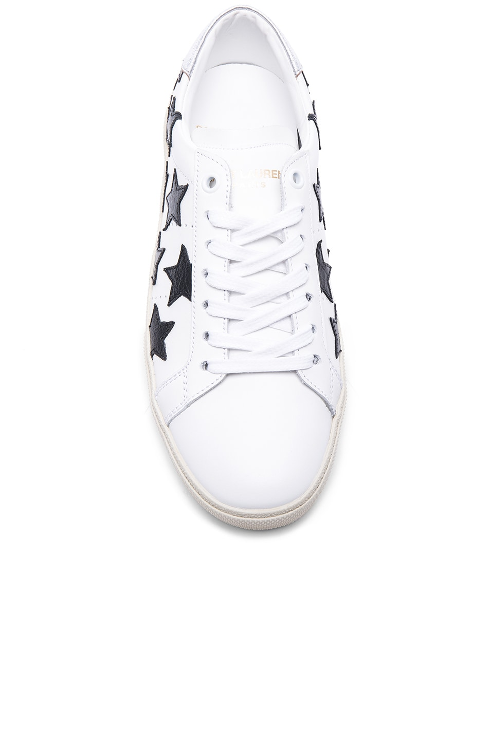 Image 4 of Saint Laurent Court Classic Star Leather Sneakers in Black & White