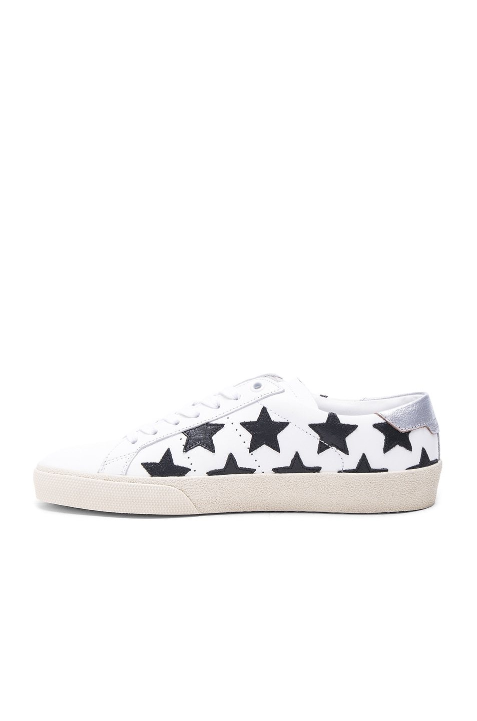 Image 5 of Saint Laurent Court Classic Star Leather Sneakers in Black & White