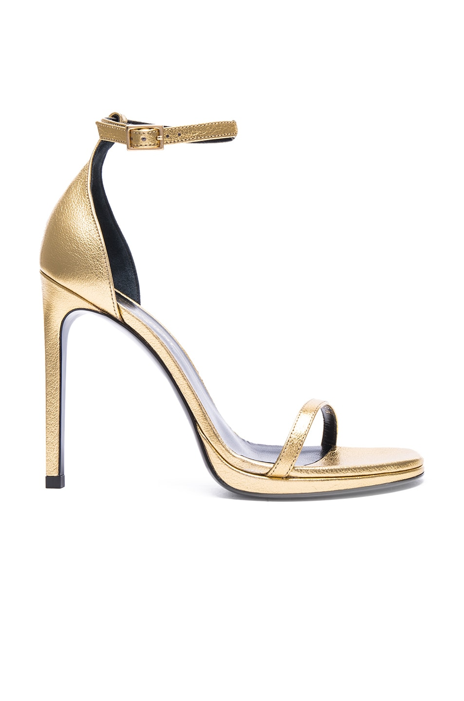 Image 1 of Saint Laurent Metallic Leather Jane Sandals in Gold