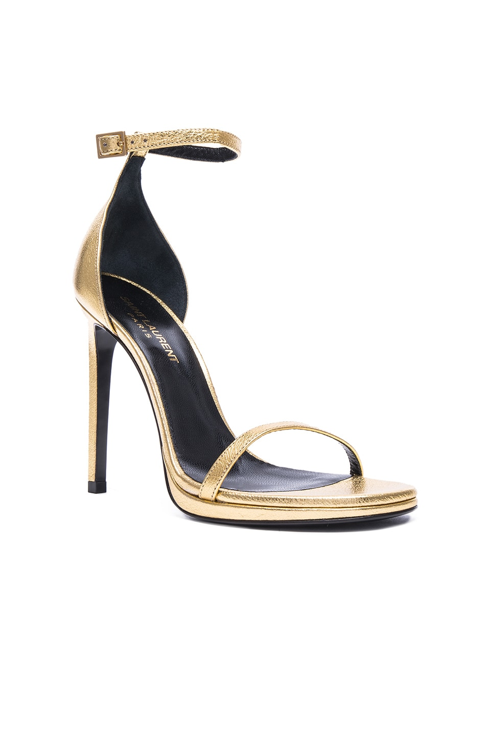 Image 2 of Saint Laurent Metallic Leather Jane Sandals in Gold