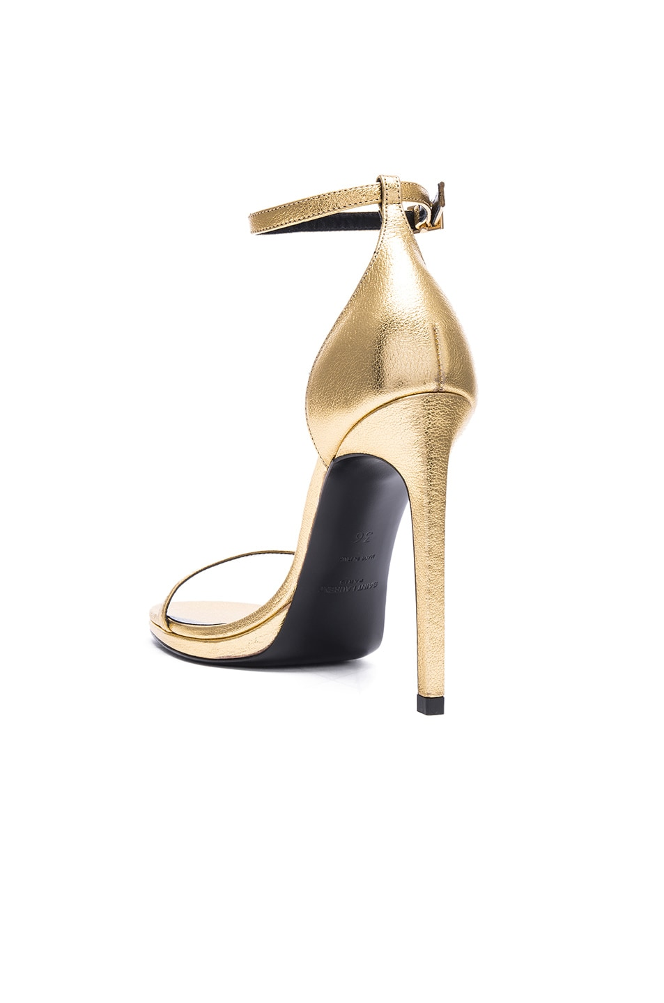 Image 3 of Saint Laurent Metallic Leather Jane Sandals in Gold