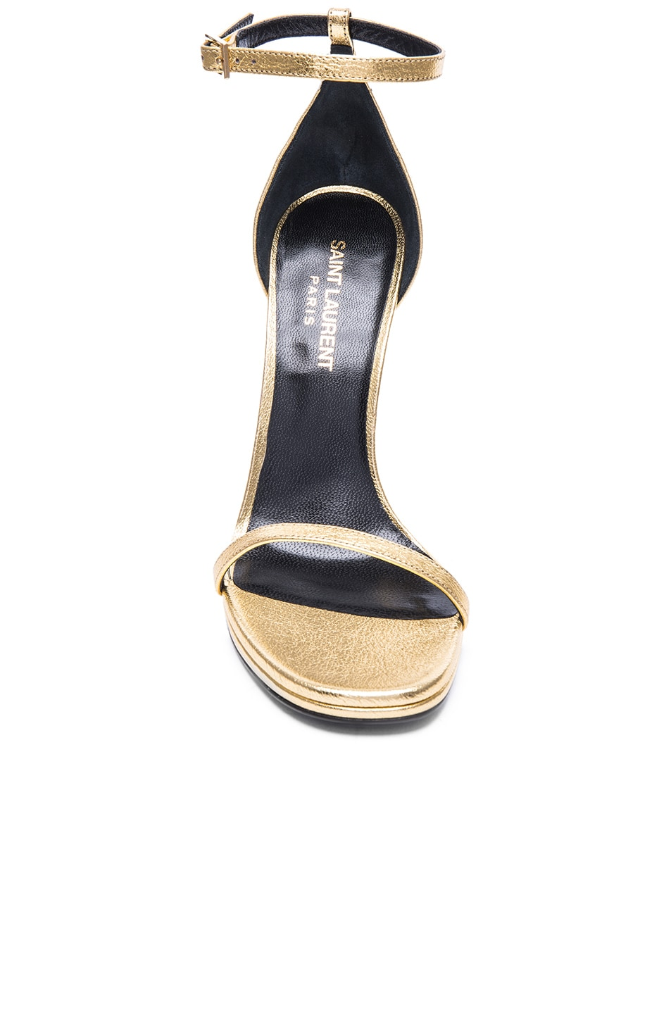 Image 4 of Saint Laurent Metallic Leather Jane Sandals in Gold