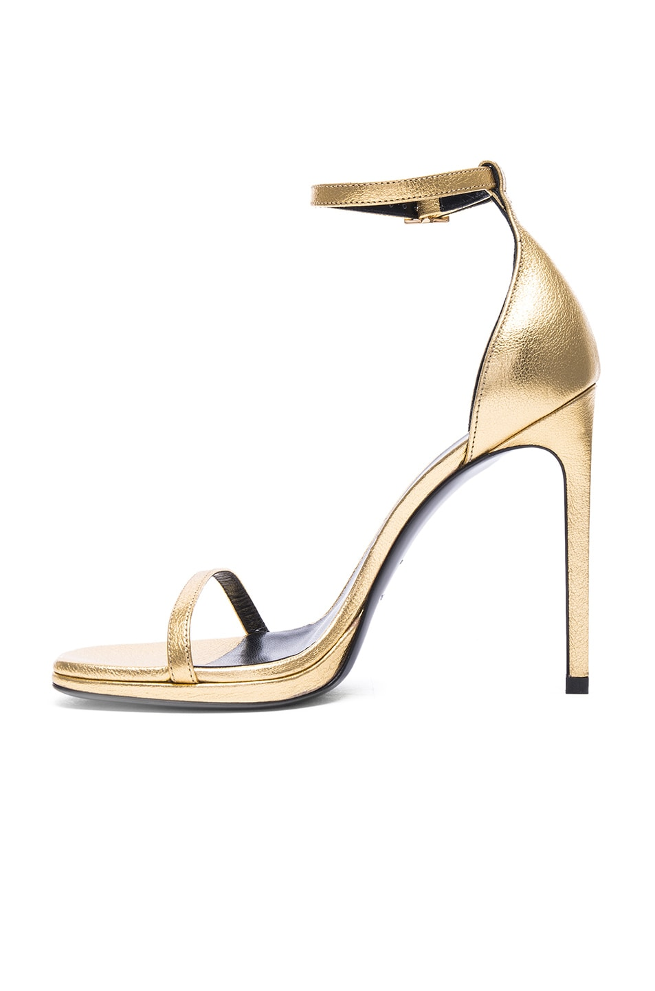Image 5 of Saint Laurent Metallic Leather Jane Sandals in Gold