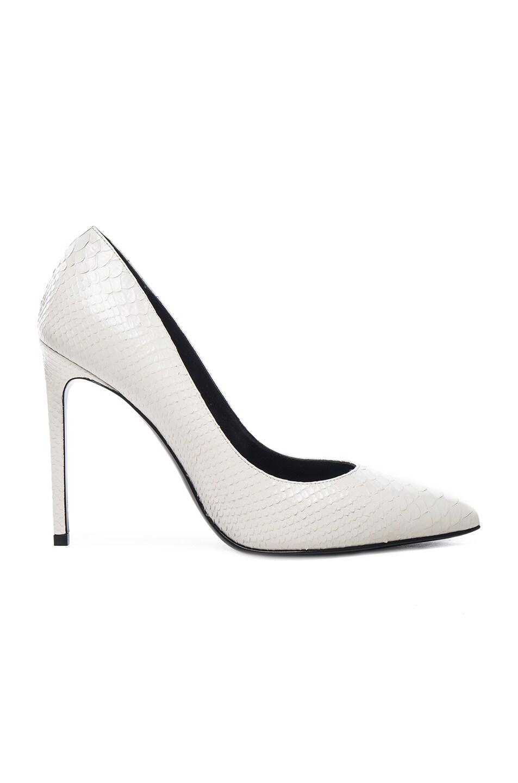 Image 1 of Saint Laurent Embossed Python Paris Skinny Heels in Optic White