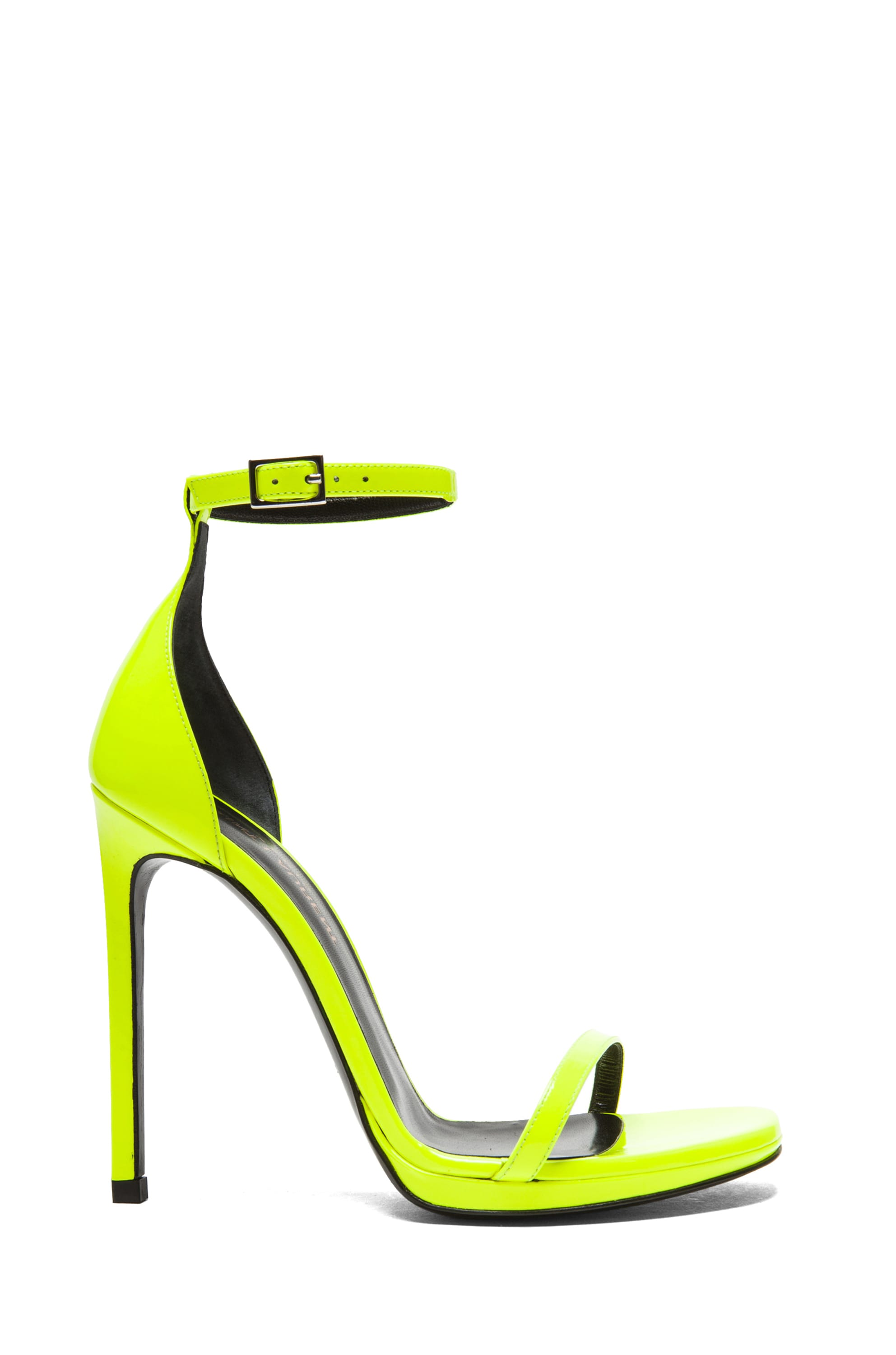 Image 1 of Saint Laurent Jane Leather Ankle Strap Sandals in Neon Yellow