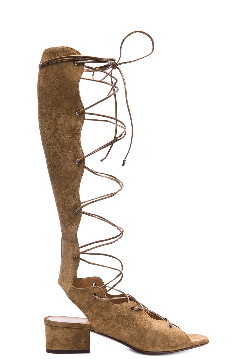 e70b8f73ff1 Image 1 of Saint Laurent Babies Suede Lace Up Gladiator Sandals in Tan
