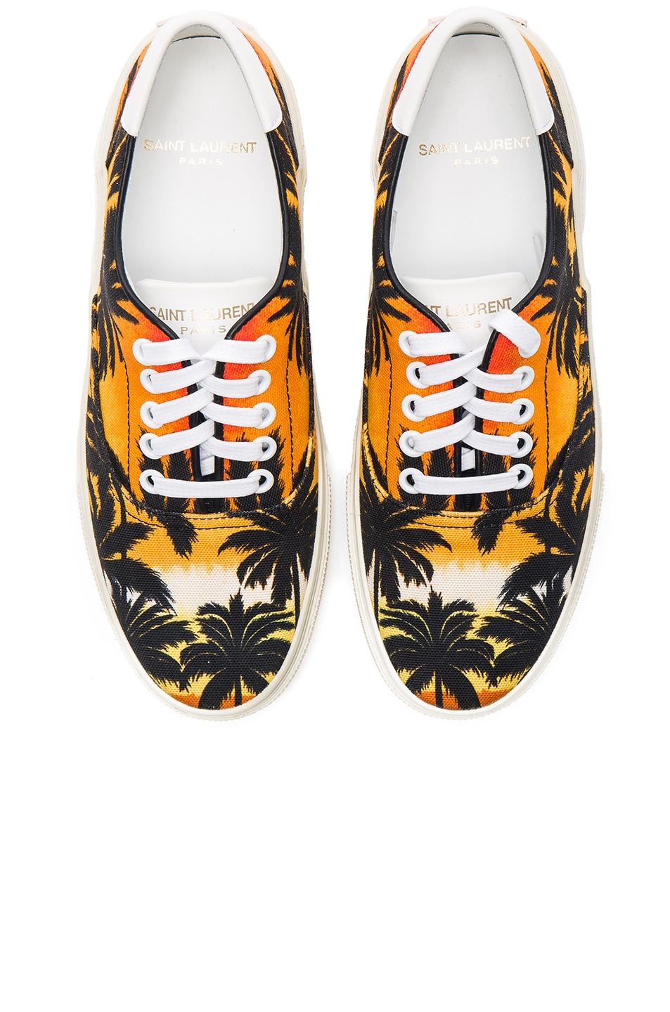 Image 1 of Saint Laurent Palm Print Canvas Skate Sneakers in Sunset