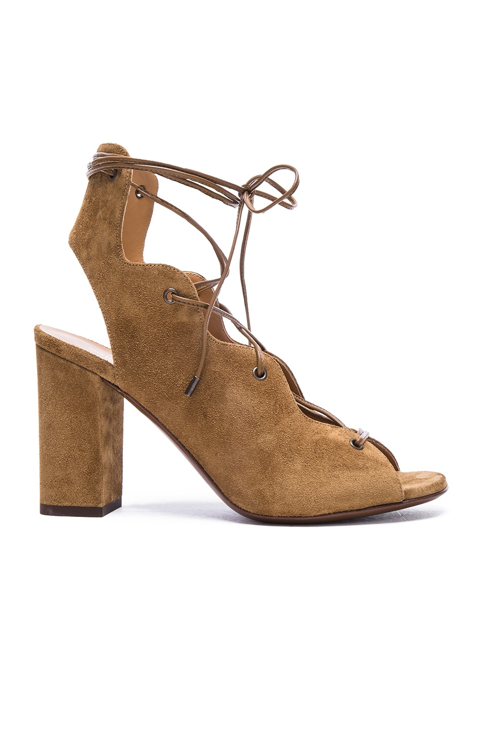 Image 1 of Saint Laurent Babies Suede Lace Up Heel Sandals in Tan