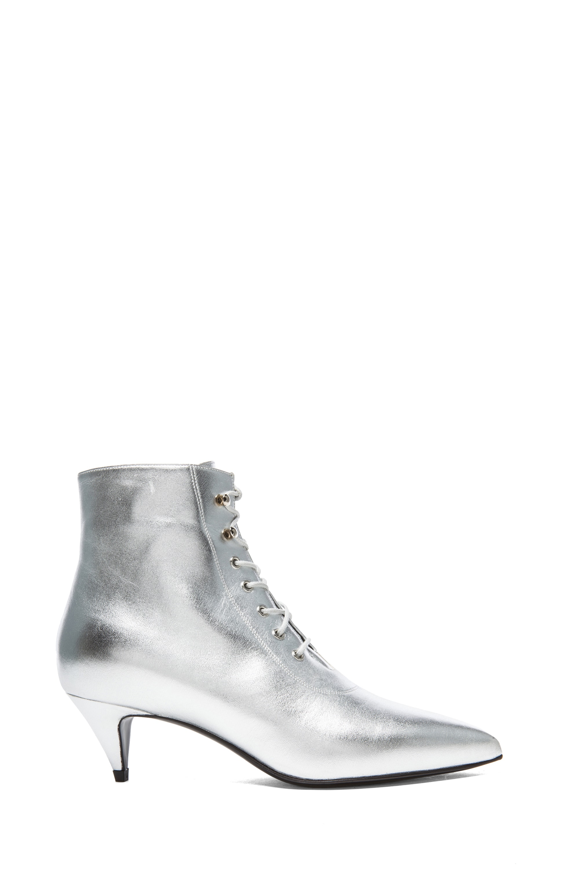 Image 1 of Saint Laurent Cat Lambskin Leather Booties in Silver