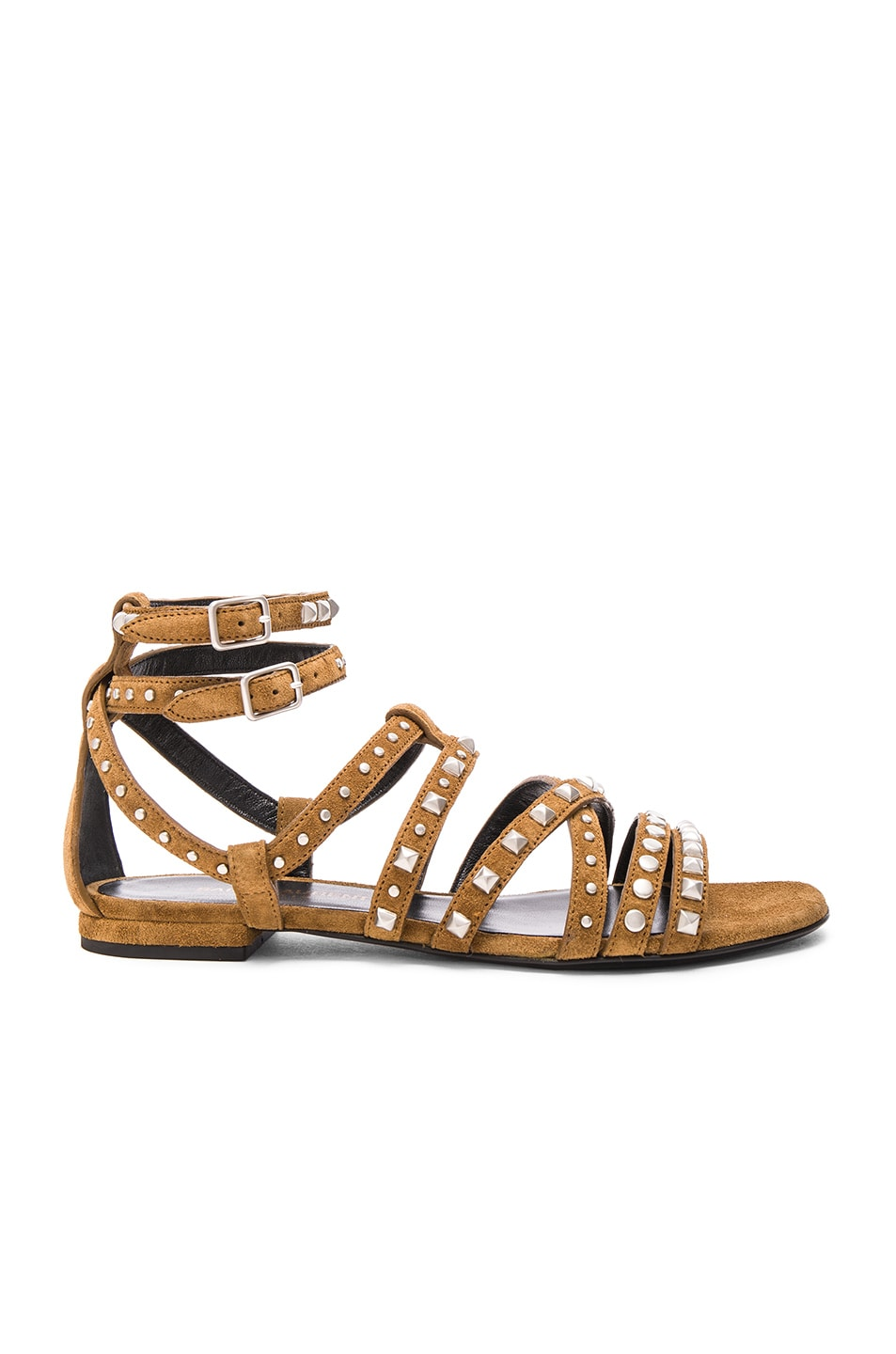 Image 1 of Saint Laurent Suede Multistud Nu Pieds Sandals in Tan