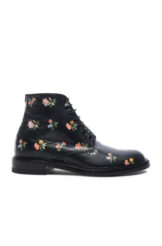 Image 1 of Saint Laurent Grunge Flower Leather Lolita Boots in Black & Multi