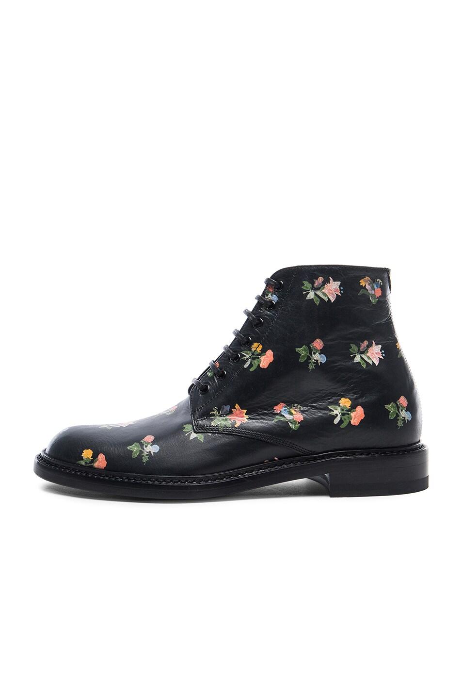 Image 5 of Saint Laurent Grunge Flower Leather Lolita Boots in Black & Multi