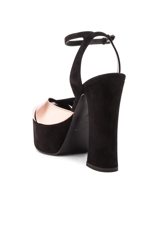 Image 3 of Saint Laurent Candy Platform Suede & Metallic Leather Heels in Black & Blush Metal