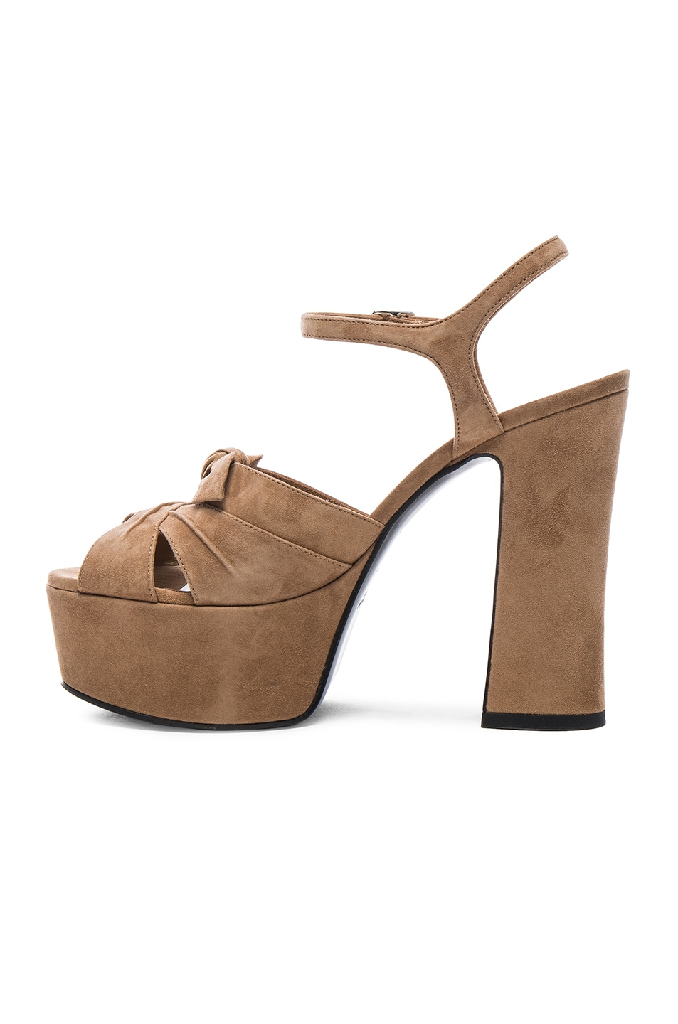 9840ef9d275 Image 5 of Saint Laurent Candy Platform Suede Heels in Chamois
